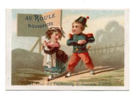 Chromo Calendrier Année 1876 Semestre Au Roule Paris Scène Galante Romantique Couple Jeune Femme Homme Bébé Lith Clarey - Chromos