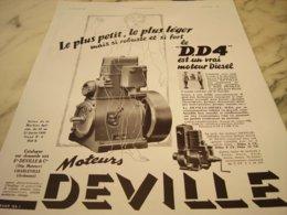 ANCIENNE PUBLICITE LE PLUS PETIT MOTEUR  DEVILLE  1935 - Publicité