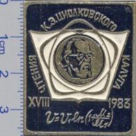 312 Space Soviet Russia Pin. XVIII Scientific Readings Of Tsiolkovsky Memory. 1983 - Space