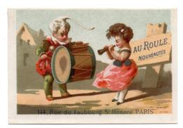 Chromo Calendrier Année 1876 Semestre Au Roule Paris Scène Galante Romantique Couple Jeune Femme Homme Clown Lith Clarey - Chromos