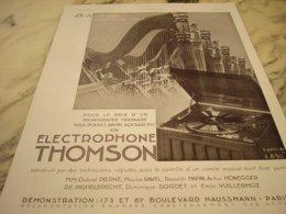 ANCIENNE PUBLICITE ELECTROPHONE THOMSON 1935 - Autres