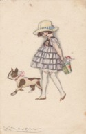 CPA  Fillette Poupée Dans Seau Chien Bouledogue Français French Bulldog Illustrateur MAUZAN (2 Scans) - Mauzan, L.A.