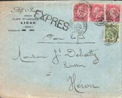 Alf. Fournez, Avocat Liège - 1902 - Griffe Expres, Timbres Pour Héron - Poststempel