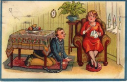 Humour - Man And Women - Old Postcard 1938 - Humour