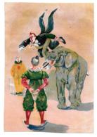 Chromo Papier Cirque Numéro Dressage éléphant Animal Clown Trio Jonglerie Jongleur Acrobate Costume Chapeau Grand Format - Chromos