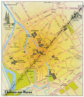Carte Géographique, Ville : CHALONS-SUR-MARNE (Marne), Notre-Dame-en-Vaux, Saint-Jean (16 Cm Sur 13,8 Cm) - Mapas Geográficas