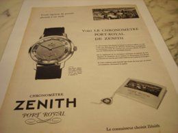 ANCIENNE PUBLICITE PORT ROYAL  MONTRE ZENITH 1957 - Afiches