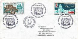 FRANCE - 1977 - Conseil De L'Europe - Lettre De Ver-sur-Mer Pour Strasbourg En Poste Restante - Amérissage De Byrd - France