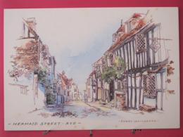 Visuel Très Peu Courant - Angleterre - Rye - Merlaid Street - Aquarelle Terry Whitworth - Scans Recto Verso - Rye