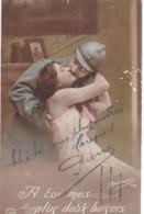 """MILITARIA. GUERRE 1914- 18.CARTE PATRIOTIQUE..COUPLE """" A TOI MES PLUS DOUX BAISERS """". + TEXTE DU 2 AVRIL 1916 - Weltkrieg 1914-18"""