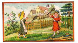 Chromo Papier Style Kate Greenaway Jeu Enfant Fillette Volant Raquette Partie Jardin Corde à Sauter Ballon Campagne - Chromos