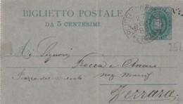BIGLIETTO POSTALE 1889 CENT.5 (IX382 - 1878-00 Umberto I