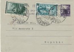 BIGLIETTO POSTALE 1952 4 L. +10+12 TIMBRO TRADATE VARESE (IX585 - 6. 1946-.. Repubblica