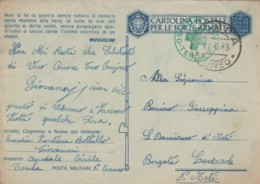 CARTOLINA FRANCHIGIA 1943 TIMBRO OSPEDALE TENDA CUNEO - NON SI FA UNA GUERRA (IX461 - 1900-44 Vittorio Emanuele III