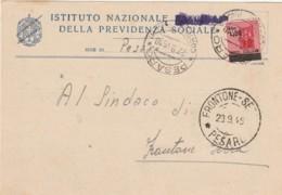 CARTOLINA POSTALE 1945 LUOGOTENENZA TIMBRO PESARO FRONTONE (IX599 - Storia Postale