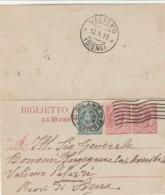 INTERO BIGLIETTO POSTALE 1919 C.10+10+5 TIMBRO VALIANO SIENA (IX565 - Interi Postali