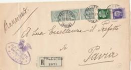 RACCOMANDATA 1929 3X5+25+50 TIMBRO PALESTRO PAVIA (IX521 - Marcofilía