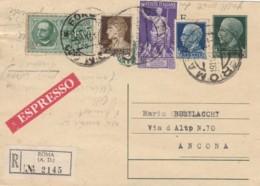 RACCOMANDATA CON 10+1,25+50 AUGUSTO+1,25  INTERO POSTALE 15 C. (IX530 - 1900-44 Vittorio Emanuele III