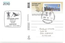 2010 Jeux Olympiques D'Hiver,Vancouver : Ski Alpin :site De Whistler : Entier Postal: - Winter 2010: Vancouver
