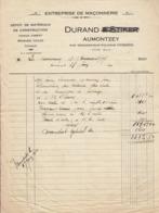 Durand  (et Stiker)  Entreprise De Maçonnerie à Aumontzey Par Granges Sur Vologne , Vosges ,facture De 1930 - France