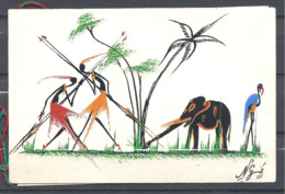 Belle Carte De Voeux Africaine Avec Un Superbe Dessin - Mappe