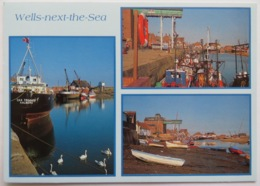WELLS-NEXT-THE-SEA, NORFOLK MULTIVIEW. DAN TRIMMER CARGO SHIP, QUAY - England