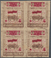 Indonesien - Vorläufer: Java, 1945, Independence 20 S. Buffalo And Flag In Brown/red, A Block Of Fou - Indonesien