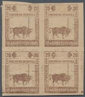 Indonesien - Vorläufer: Java, 1945, Independence 20 S. Buffalo And Flag, In Brown Only, A Block Of F - Indonesien