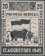 Indonesien - Vorläufer: Java, 1945, Independence 20 S. Buffalo And Flag, Large Size Proof In Black O - Indonesien