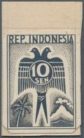Indonesien - Vorläufer: Java, 1945, 10 Sen Doublehead Bird With Palm And Volcano, In Black On Photop - Indonesien