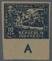 Indonesien - Vorläufer: Java, 1946, 10 S. Surabaya, Imperforated On Greenish Paper, A Bottom Imprint - Indonesien