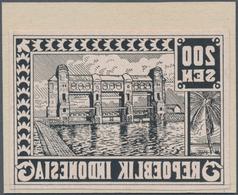 Indonesien - Vorläufer: 1946, 200 S. Dam, Mirror Printing In Black On Art Paper, Mounted On Cardboar - Indonesien