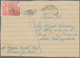 """Indonesien - Vorläufer: Java, 1946, 100 S. Red Tied """"WA(NASAR) 13.12.48"""" To Private Card Form To Jog - Indonesien"""