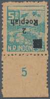 Indonesien - Vorläufer: Sumatra, 1947, 2 R. On 5 S. Turquoise, Surcharge Inverted, A Bottom Margin P - Indonesien