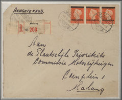Indonesien: 1949, Wilhelmina Ovpt. 3 Bars, 1 Gld. Violet, An Mperf. Proof Block Of 4. Also Single Fr - Indonesien