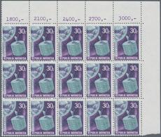 Indonesien: 1969, Satellite Communication 30r. With Variety GREY Instead Of Red Printing Block Of 15 - Indonesien