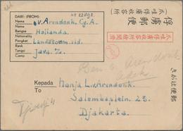 "Japanische Besetzung  WK II - NL-Indien / Java / Dutch East Indies: 1942/45, Two Preprinted ""POW Mai - Indonesien"