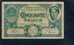 Lussemburgo Luxembourg Pick#38 50 Francs 1932  ISSUE NOTE  Duchess Charlotte  RARE Lotto 2833 - Luxembourg