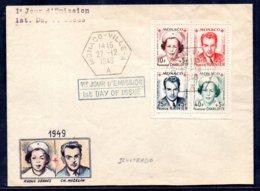 Carta Mónaco N ºYvert 334A/37A Con Matasellos De 1er Día - Mónaco