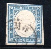 Sardaigne  / N 12 /   20 C Bleu   / Oblitéré Avec Charnière  / Côte 10 € - Sardaigne