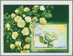 Umm Al Qaiwain: 1972, Roses, Block With Complete Loss Of Printing Ink Red, With Comparison Piece. - Umm Al-Qaiwain
