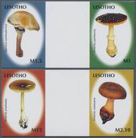 "Thematik: Pilze / Mushrooms: 2007, Lesotho. Complete Set ""Mushrooms"" In 2 Horizontal Gutter Pairs Sh - Pilze"