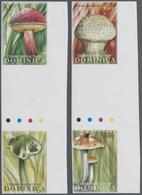 Thematik: Pilze / Mushrooms: 2009, DOMINICA: Mushrooms Complete Set Of Four In Two Vertical Gutter P - Pilze