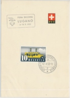 Faltblatt Mit Automobilpost SS Fiera Svizzera Lugano 1952 - Marcophilie