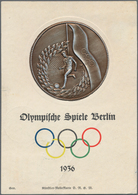 Thematik: Sport-Fußball / Sport-soccer, Football: 1936, German Reich. Olympia Relief Card With Pictu - Fussball