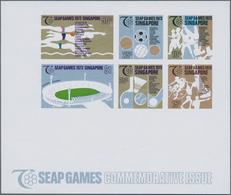 """Thematik: Sport-Fußball / Sport-soccer, Football: 1973, Singapore. Imperforated Souvenir Sheet """"SEAP - Fussball"""