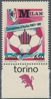 "Thematik: Sport-Fußball / Sport-soccer, Football: ITALY: 1988, 650 L Polychrome ""Italian Football Ch - Fussball"
