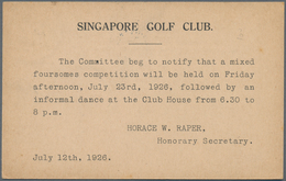Thematik: Sport-Golf / Sport-golf: 1926, Singapore Golf Club: Invitation To Foursomes Competition On - Golf