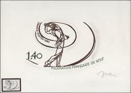 "Thematik: Sport-Golf / Sport-golf: 1980, France. Artwork For The Issue ""National Golfers Association - Golf"