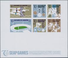 """Thematik: Sport-Tischtennis / Sport-table Tennis: 1973, Singapore. Imperforated Souvenir Sheet """"SEAP - Tischtennis"""